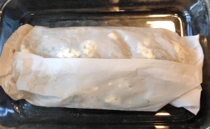 6. Wrap fish in parchment paper.  Bake
