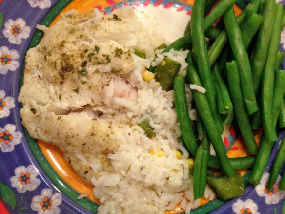 Baked Cod with Steamed Green Beans.