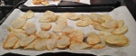 4.  Fry potato slices until golden.  Drain on paper towels after removing from frying pan.
