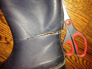 Cut boots below the break.