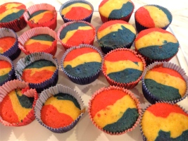Tri-colored cupcakes after baking.