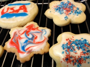 Coloring on cookies.