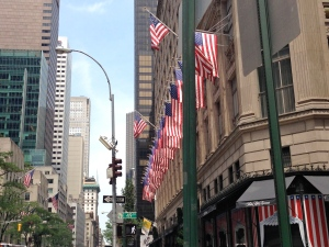 Flags along Fifth Avenue, New York City.