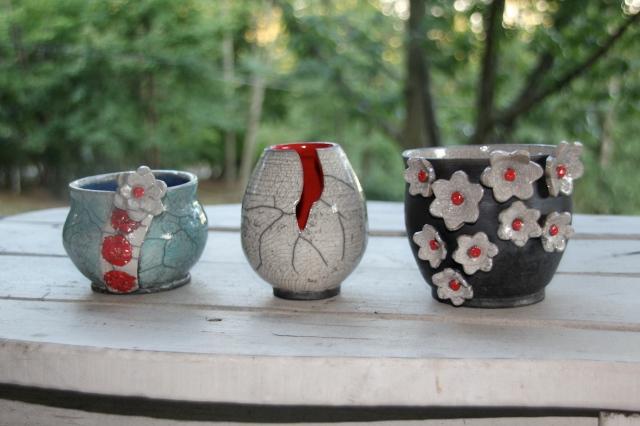 Three different pots.