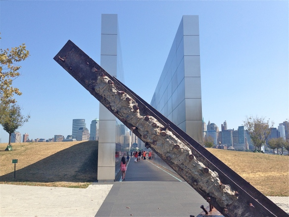 Empty Air memorial bisected by a steel beam.