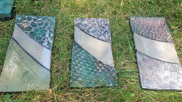 Ceramic plates I glazed with Aqua Lustre.