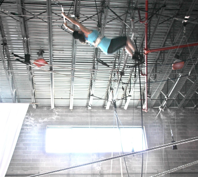 Me on the flying trapeze. Confident or crazy?