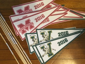 Pennants printed on card stock and dowels.