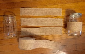 Measure and cut burlap ribbon.