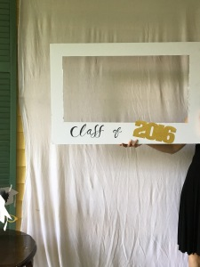 Cut out middle of foam or tag board, leaving a larger space at the bottom for personalization.