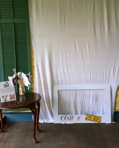 Using pushpins, secure asheet or towel as a backdrop. Set up photo area.