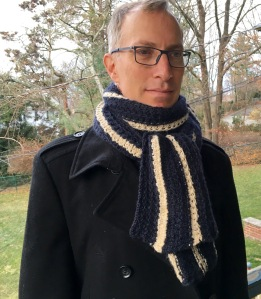 Hubby modeling the Manly Scarf.