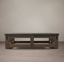 Reclaimed Wood & Zinc Top Square Coffee Table by Restoration Hardware,