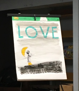 During the talk, Loren re-created the book cover.