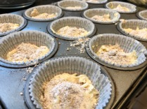 Pour batter into baking cups halfway. Sprinkle streusel mixture on top.