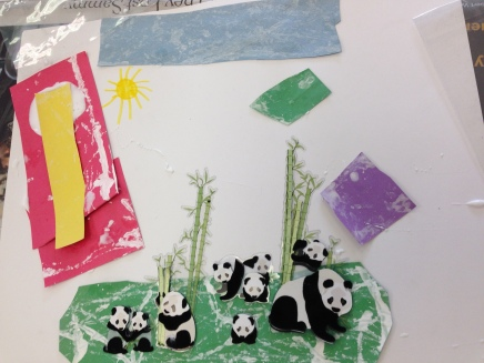 The social pandas in this scene sit on snowy grass, and the sky is filled with lots of snowy colors.