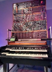 Keith Emerson of Emerson, Lake and Palmer played this Hammon electric tone wheel organ on the 1971 album Tarkus and on tour. Emerson also adapted and used this analog synthesizer.