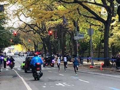 Joyciline Jepkosgei, women's division winner, running with Mary Keitani, four time NYC Marathon winner.