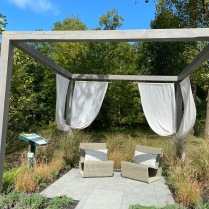"""Tranquility"" is an apt name for the contemporary arbor designed and built by Abby Jochnowitz of Designants and John Risoli of JR Landscape & Management Services."